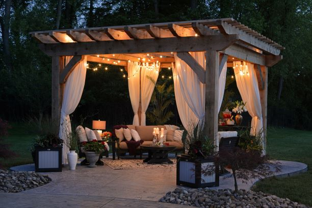 fairy lights on a pergola
